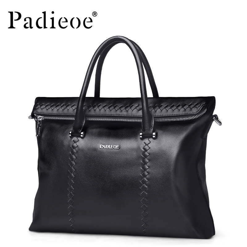 Padieoe Genuine Leather Business Briefcase Men's Top Grain Cow leather Handbags Fashion Designer Woven Tote Laptop Bag For Male padieoe lines men s briefcase famous brand genuine cow leather men s bag business casual laptop notebook designer handbags