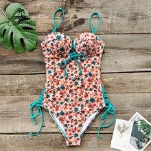 CUPSHE เซ็กซี่ Dainty Floral พิมพ์ LACE Up One Piece ชุดว่ายน้ำผู้หญิง Push Up Monokini 2020 สาวชายหาดชุดว่ายน้ำชุด