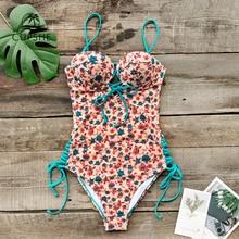 Cupshe sexy delicado floral impressão laço up maiô de uma peça mulher push up monokini 2020 menina praia fatos de banho