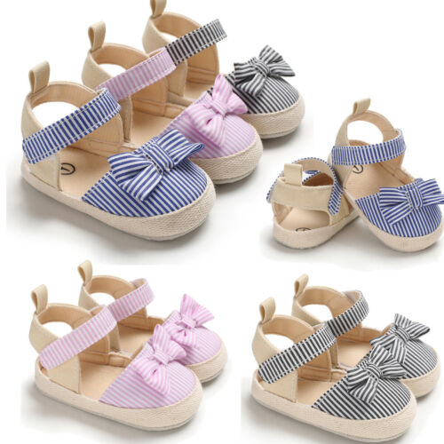 Hot Toddler Girl Crib Shoes Sandals Newborn Baby Bowknot Striped Shoes Soft Sole Cloth Prewalker Sneakers Summer Sandals