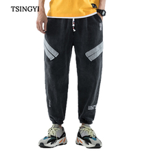 Tsingyi Multi pockets Parchwork Embroidery Men Cargo Pants Washed Cotton Trousers khaki pants Drawstring Pantalon Men Joggers multi pockets drawstring cuff camo cargo pants