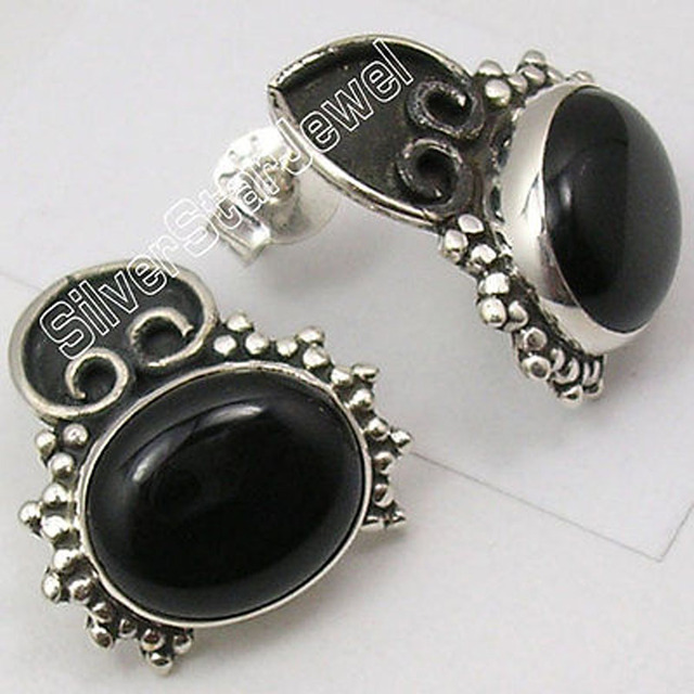Silver Real BLACK ONYX ETHNIC UNUSUAL STUD Earrings 1.8 CM OXIDIZED