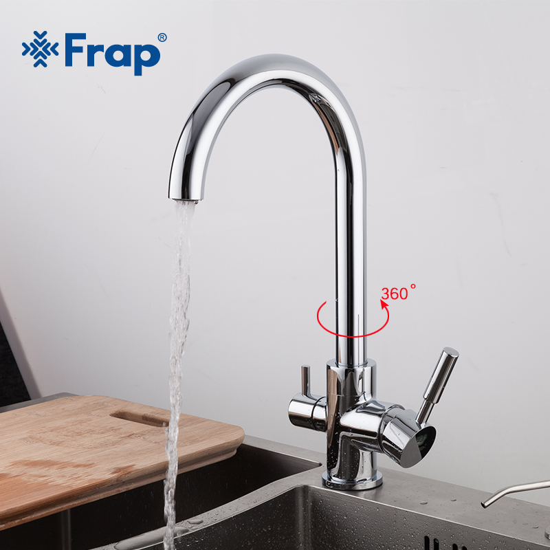 Frap chrome Kitchen sink Faucet 360 Degree Rotation with Water Purification Features three ways hot and