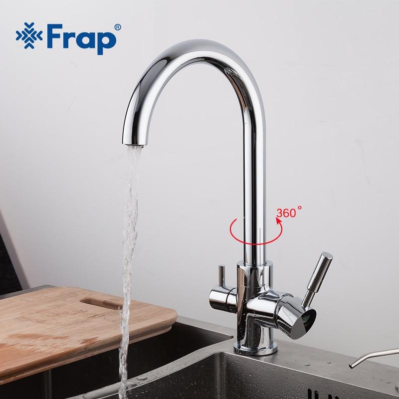 Frap chrome évier de Cuisine Robinet 360 Degrés Rotation avec Propose trois façons De Purification De L'eau chaude et froide mélangeur d'eau F4352
