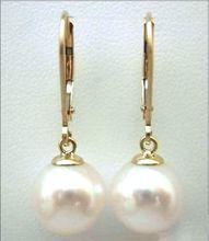 10-11 MM AAA ROUN PERFECTA del mar del sur blanco perla pendientes de ORO SÓLIDO MARCADO