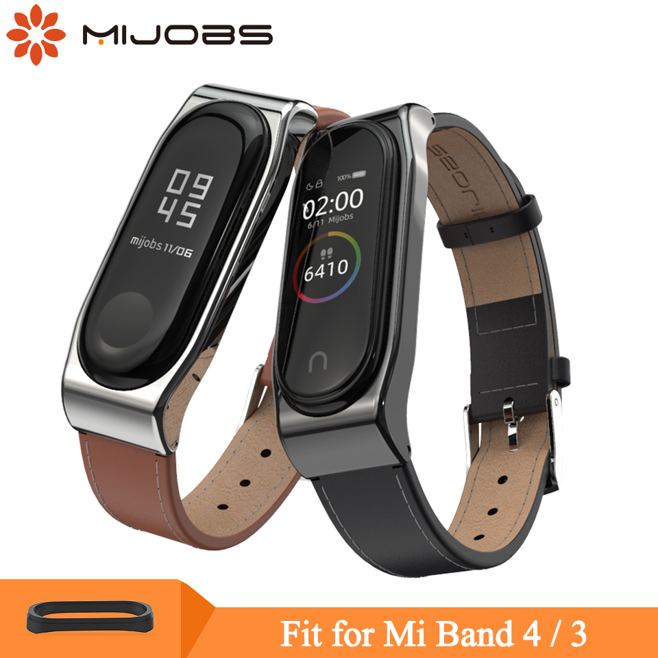 Mijobs Mi Band 4 Strap Genuine Leather Mi Band 4 3 Strap For Xiaomi Mi Band 4 3 Smart Watch Wristband Miband 4 3 Bracelet