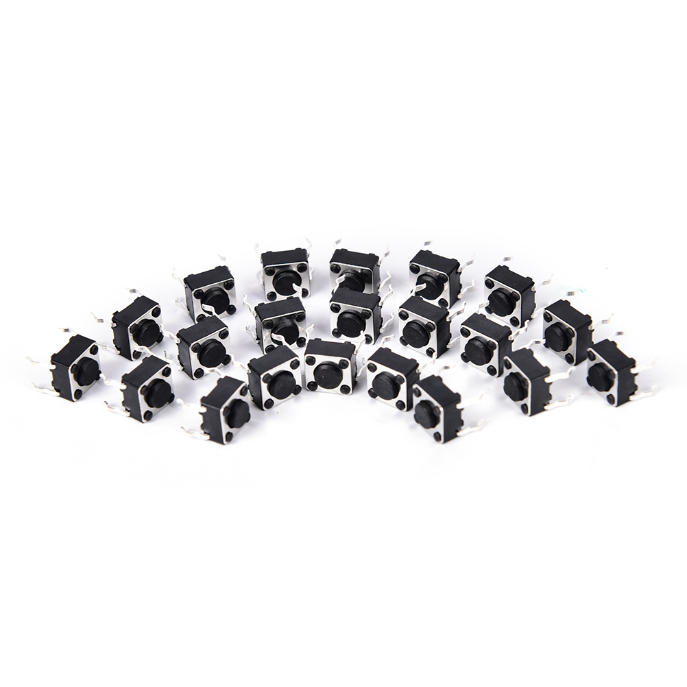 50pcs 6x6x5mm black 4pin DIP Through-Hole copper cover feet Tactile Push Button <font><b>Switch</b></font> Momentary <font><b>Tact</b></font> image