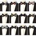 Men  Vintage Paisley Flower Faux Leather Bow Tie Wedding Party Prom Bowtie BWTHZ0151