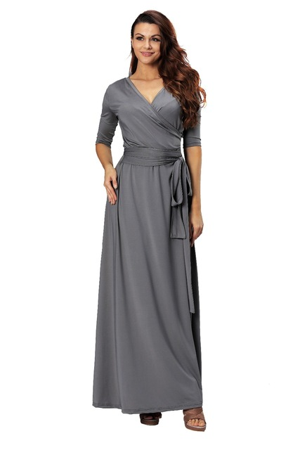 Roiii 2018 Hot Maxi Dress Grey High Waist V-Neck Half Sleeves Long Dress  Summer Women Casual Holiday Wear Plus Size S-2XL e4cc706f70df