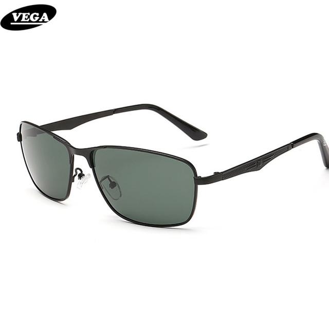 VEGA Men Square gafas de Sol Polarizadas de Metal Para la Conducción Gafas de Lentes de Color Verde Oscuro 2273