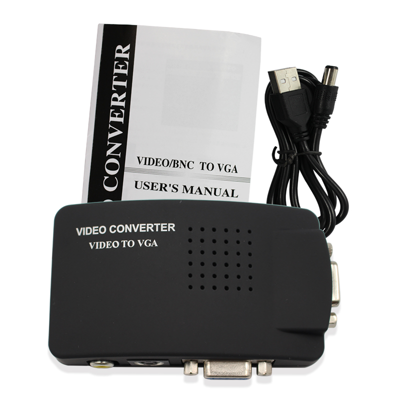 High Quality black converter TV RCA Composite S-Video In AV to VGA PC Mac Lcd Out Converter Adapter Box free shipping