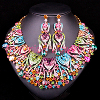 Luxury Peacock Bridal Jewelry Sets Wedding Statement Necklace & Earring for Brides Party costume Accessories Decoration Women