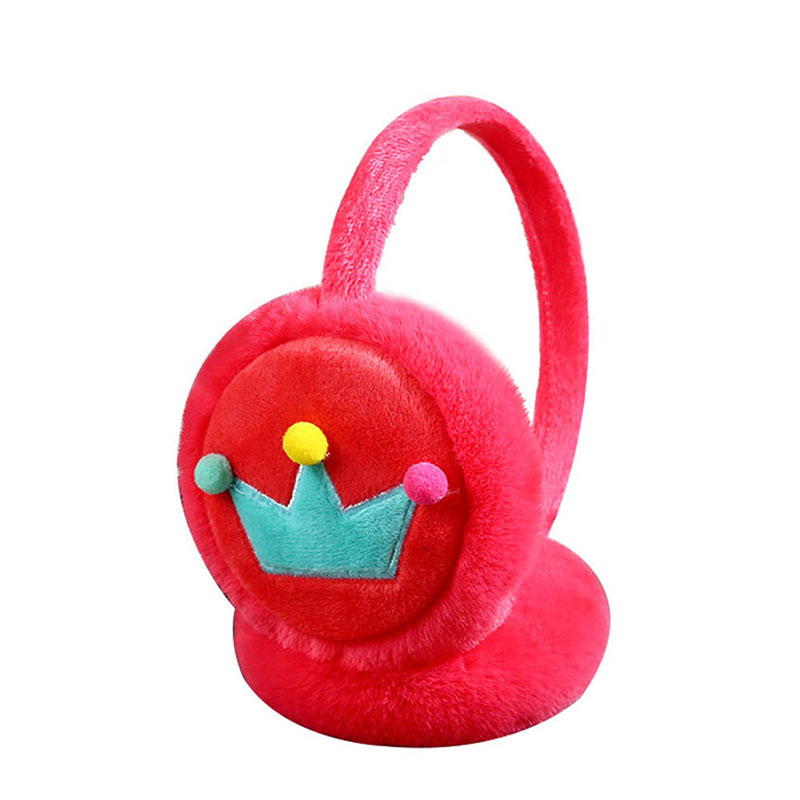 1 Pcs Women Winter Warm Ear Muffs Cute Faux Fur Cartoon Crown Plush Earmuffs JL