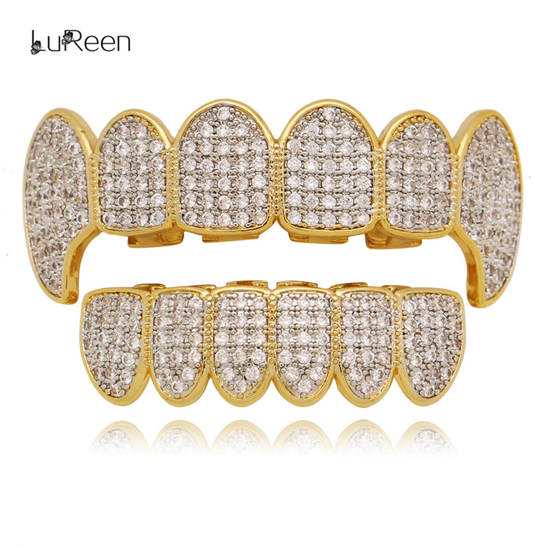 LuReen Bling Micro Pave Cubic Zircon oro dientes grillz Top & Bottom Iced Out parrillas dentales Vampire Fang Hiphop parrillas joyería