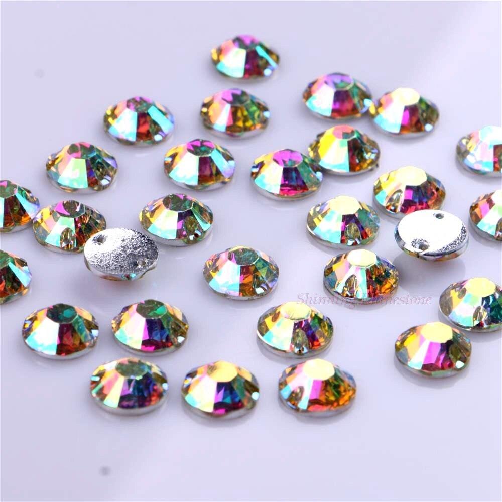 10mm 50st / pack Crystal AB Sy på rhinestones Round Resin DIY - Konst, hantverk och sömnad - Foto 5