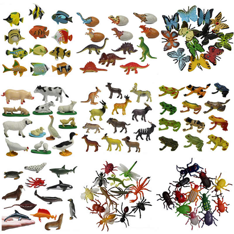 12PCS/set Insect Model Figures Figurines Toys Plastic Simulation Spider Cockroach Beetle Cat Monkey Horse Zoo Animal Doll Gift