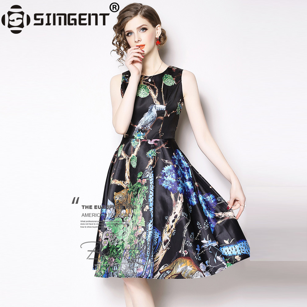 5d35530e22b Detail Feedback Questions about Simgent Jumper Dress Vintage Sleeveless  Animal Print A Line Elegant Fashion Tank Dress Vestidos Woman Clothing  Jurken ...