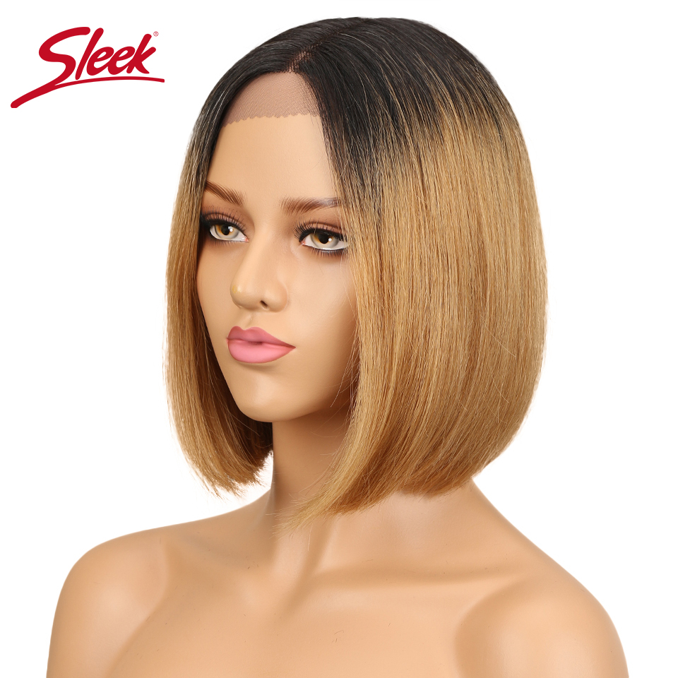 Sleek Human Hair Lace Wigs For Women Brazilian Remy Hair Straight Short Bob Wig Pre Plucked Black Brown Wig Free Shipping