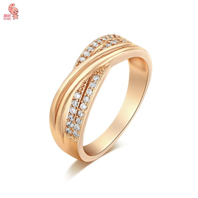 New Intersect Crystal Zirconia Wedding Ring Womens For Gift Birthday Fashion Charm Girlfriend Golden