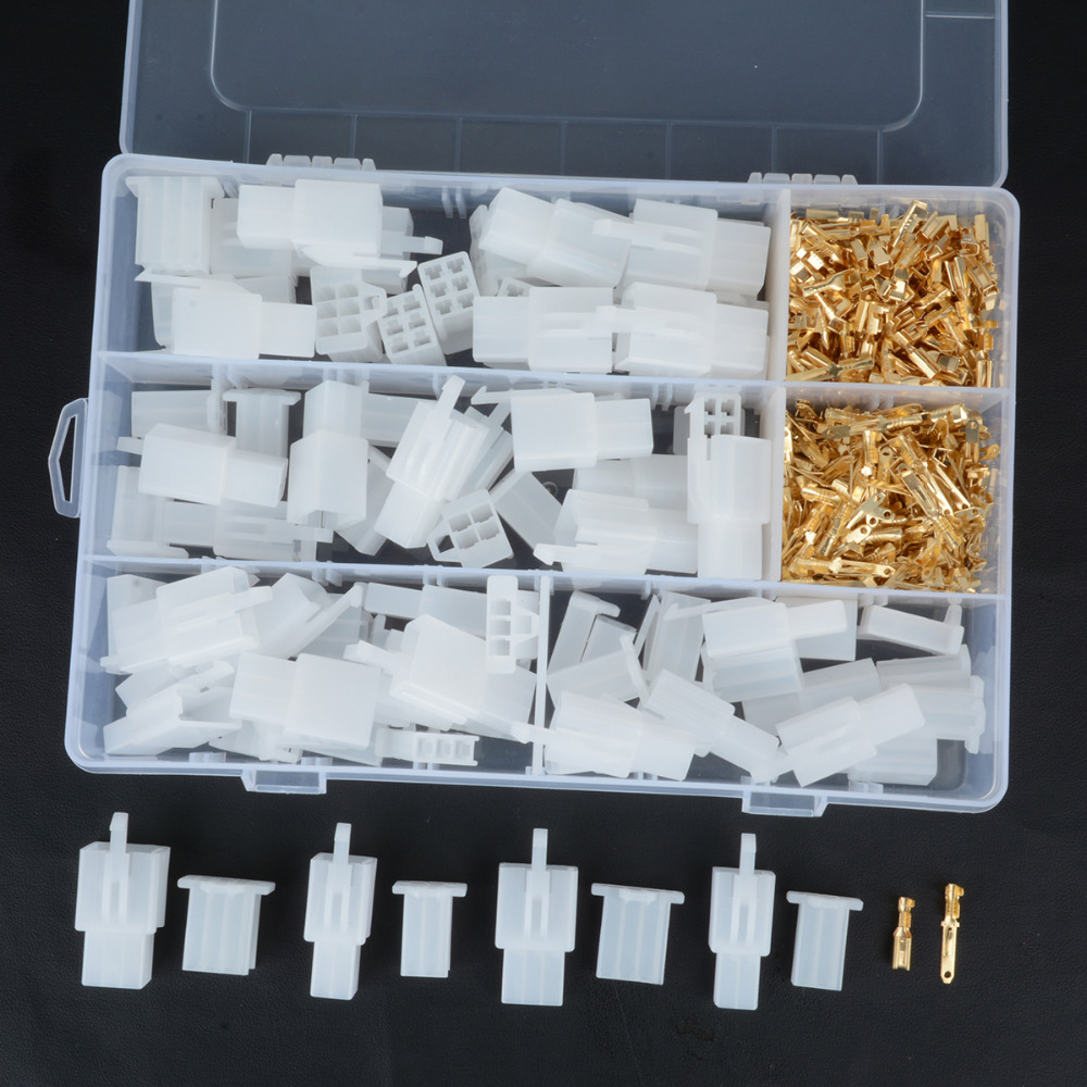 Conjunto Prático 40 2 3 4 6 Pino 2.8mm de Auto Elétrica Conector Terminal Do Fio com Gancho Fixo Feminino Masculino terminais de Habitação Mayitr
