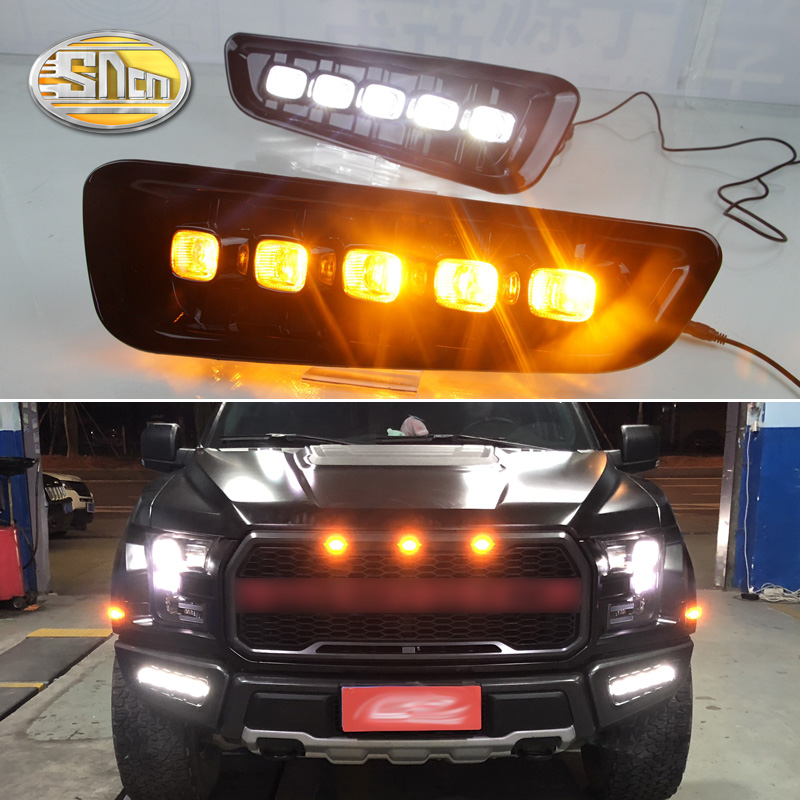 SNCN 2PCS LED Daytime Running Light For Ford F-150 2016 2017 2018 Turning Yellow Signal Relay Waterproof Car 12V LED DRL Lamp 2pcs 19cm ice bule and yellow color waterproof nonfog led drl daytime running light with brake no need modify for all car
