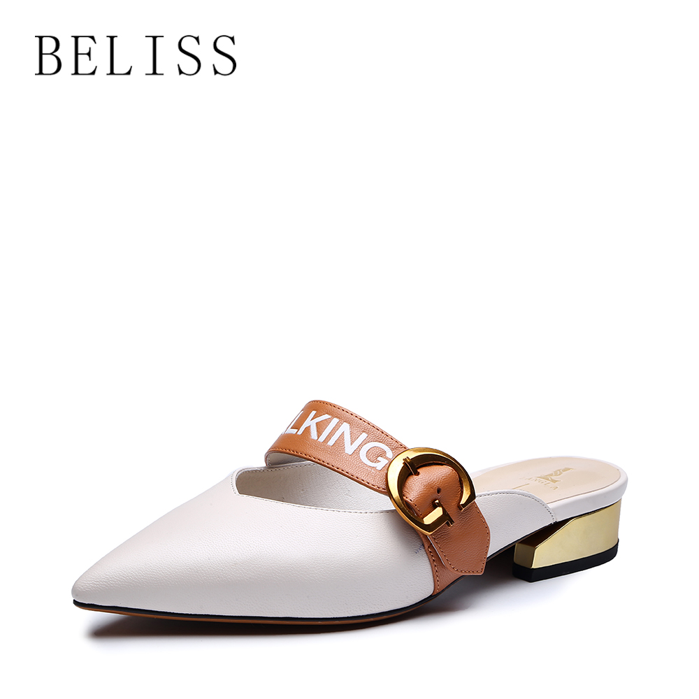 BELISS sexy mules shoes women pointed toe fashion slippers women med heels comfortable outside retro female footwear slides S11 in Slippers from Shoes