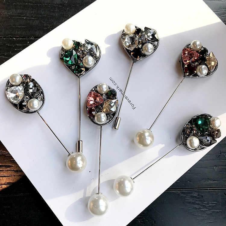 Aku-Remiel High-End Jarum Panjang Pin Bros Mutiara Cinta Kristal Berlian Imitasi Bros dan Pins Lencana Kerah Kemeja kerah Aksesoris