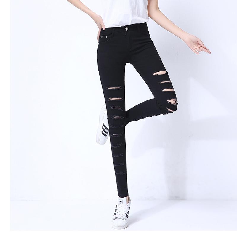 Sexy Cut Up Hole Ripped   Jeans   For Women Plus Size Stretch Skinny   Jeans   Black Knee Destroyed   Jeans   Push Up Denim Pencil Trousers