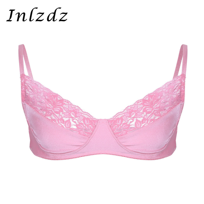 Men Sissy Bra Tank Top Lingerie Bralette Smooth Fabric Brassiere Wire-free Top With Shoulder Straps Bra Exotic Costume For Sex