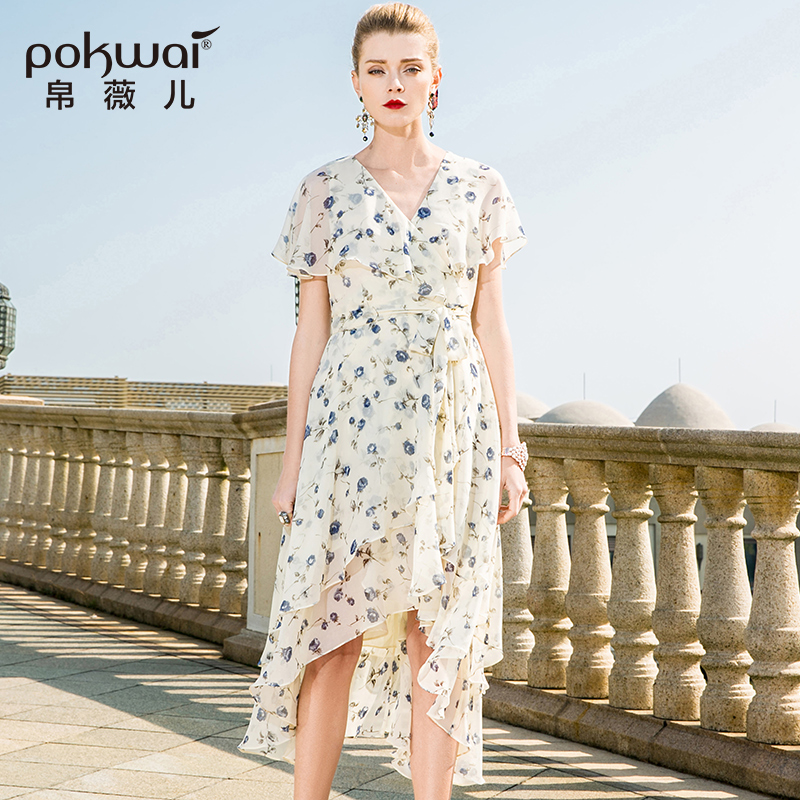 POKWAI Long Casual Floral Summer Chiffon Dress Women 2018 New Fashion High Quality Short Butterfly Sleeve V-Neck Sheath Dresses sexy knitted long sleeve deep v neck pack hips women dress fashion solid mini sheath summer dresses new 2017 casual vestido s xl