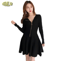 New Autumn And Winter Women Clothing Casual Student Long Sleeve Dress Zipper Little Black Vestido Elegant