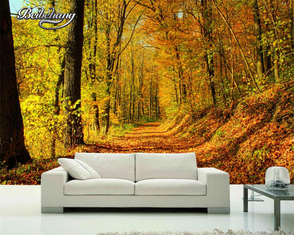 Us 885 41 Offbeibehang Photo Wallpaper Covered With Leaves Of The Mountain Road Early Autumn Forest 3d Background Wall Decoration Wallpaper In