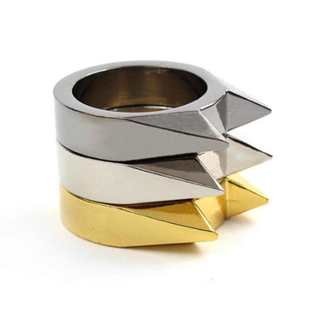 Herramienta de supervivencia al aire libre regalos de joyería anillo de dedo Punk hombres mujeres guay lindo gato oreja de defensa propia colgante llavero multifunción