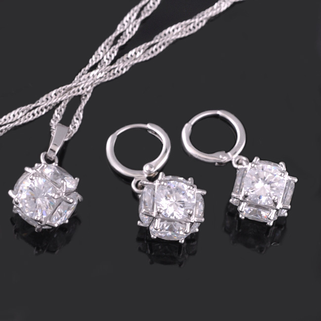 MxGxFam Magical Ball Jewelry Set White Gold Color with Clear Rhinestone