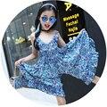 Marca 2015 meninas Macacão roupa dos miúdos Meninas colorido pedaço halter Jumpsuit roupas roupas crianças verão