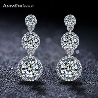 ANFASNI New Arrival Real 925 Sterling Silver Elegance Three Clear Round CZ Vintage Earrings For Women