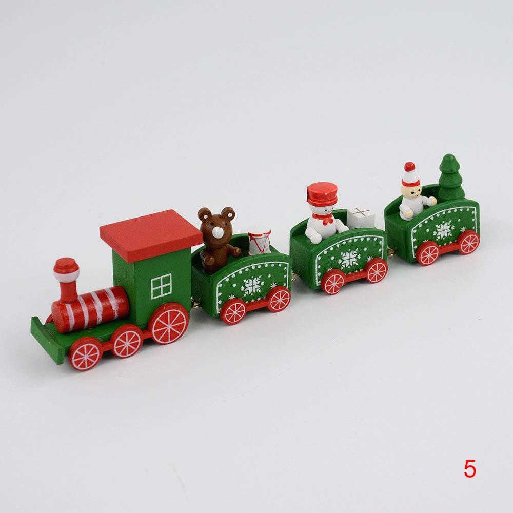 Mini Christmas Wooden Train Tree Wood Ornament Decoration