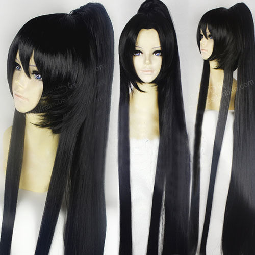Fashion Mens Boys Cosplay Long Black Straight Hair With Ponytail Full Wig Wigs