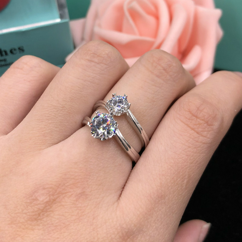 5A High Quality Carbon Cubic Zircon 1ct Carat Rings Female Pure Silver Engagement Rings 6 Prong Setting Rings for Women Jewelry