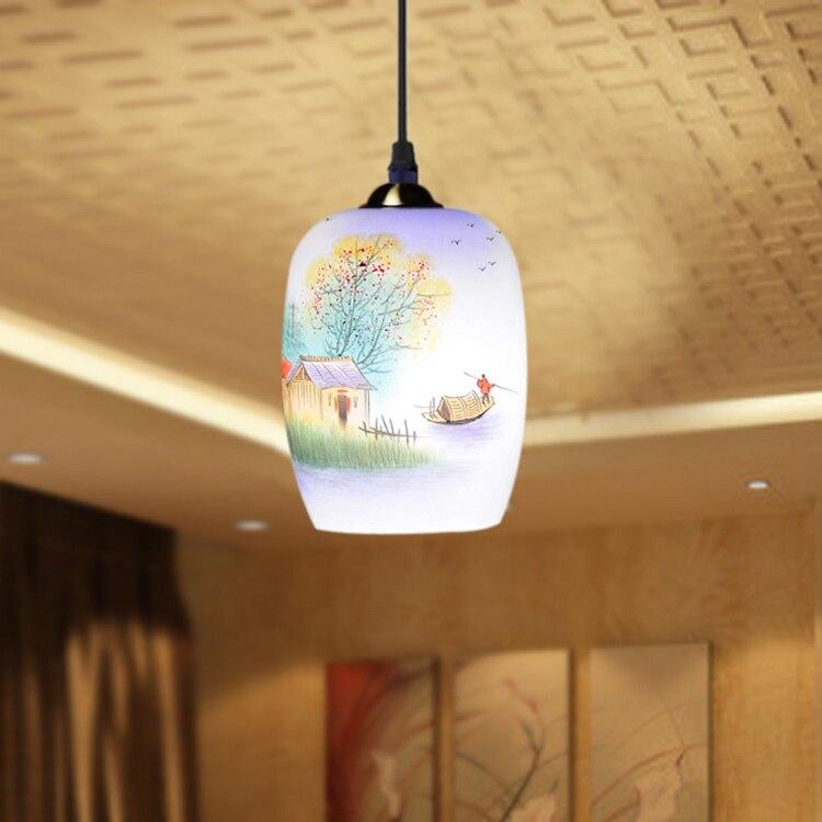 ФОТО Antique Design Porcelain Lamps LED Lotus Vintage 90-260V E27 Eggshell Ceramic  Kitchen Restaurant Hotel Pendant Lights