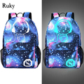 New Fashion Men's Backpack Anime Starry sky Luminous Printing Teenagers Casual Mochila Men Women's Student Cartoon School Bags