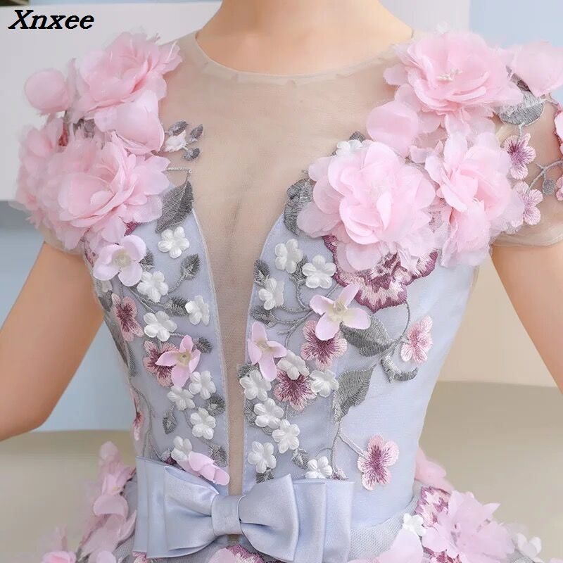 Xnxee New Ball Gown Arabic Dress For Wedding Scoop Hand Flowers Princess Bridal Gowns 2018 vestido de noiva Robe De Mariage in Dresses from Women 39 s Clothing