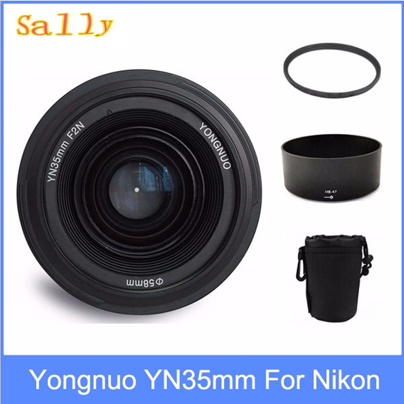 Yongnuo YN35mm F2 lens Wide-angle Large Aperture Fixed Auto Focus Lens + 58mm UV filter +lens bag +  Lens Hood For Nikon fashion character hood filter cxw 218 f f range hood oil strainer 10 35