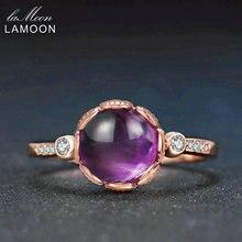 LAMOON Púrpura Amatista Anillo de Compromiso Señora de Plata de ley 925 Anillo de Piedra Natural de La Joyería de Oro Rosa De Regalo Novia LMRI029
