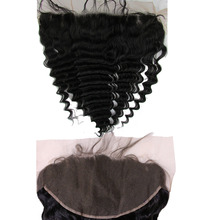 8A Peruvian Hair Lace Frontal Closure 13×6 Free Deep Wave Human Hair Ear To Ear Lace Closure Bleached Knotsl Lace Frontal