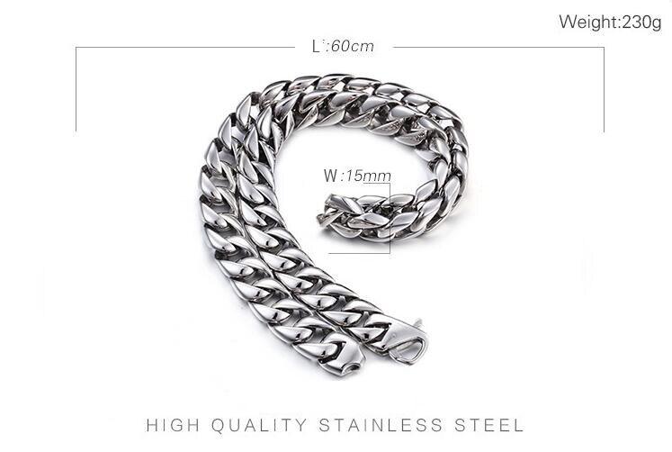Collar de cadena de eslabones cubanos de 60CM de largo y 15MM de ancho para hombres collar de acero inoxidable 316L collar popular de fiesta - 4