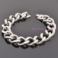 Exquisite Workmanship Silver Cuban Link Chain 15MM Stainless Steel Bracelet Bangle Biker Boys Cuff Jewelry 7