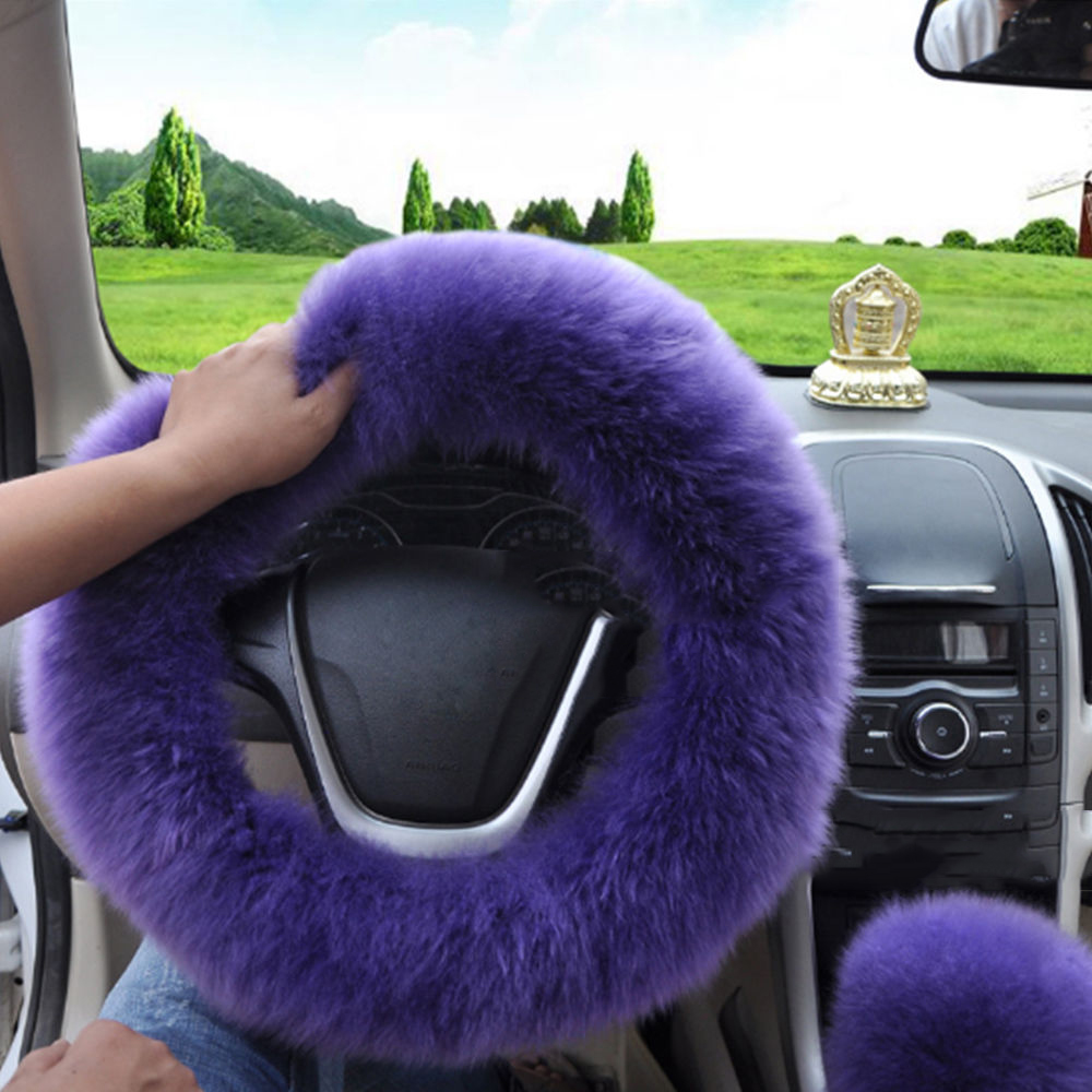 Universal 38CM Wool Plush Fuzzy Auto Car Steering Wheel Cover Plush For Winter