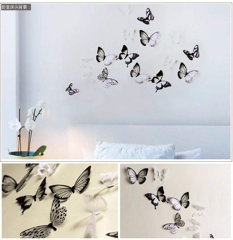 18Pcs 3D Black And White Butterfly Sticker Art Wall Decal Home Decoration Room Decor Hot Sale