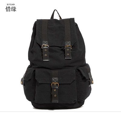 2017 Men Male Canvas Backpack College Student School Backpack Bags for Teenagers Vintage Mochila Casual Rucksack Travel Daypack